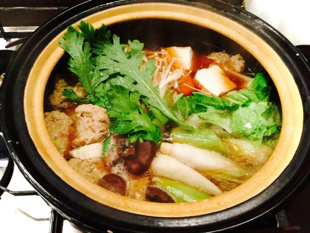 有機野菜と鶏ダンゴの鍋